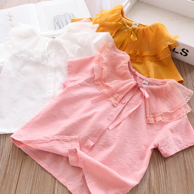 2020 Summer Girls Ruffled Collar Lace-up Shirt Children/'s Clothing Wholesale