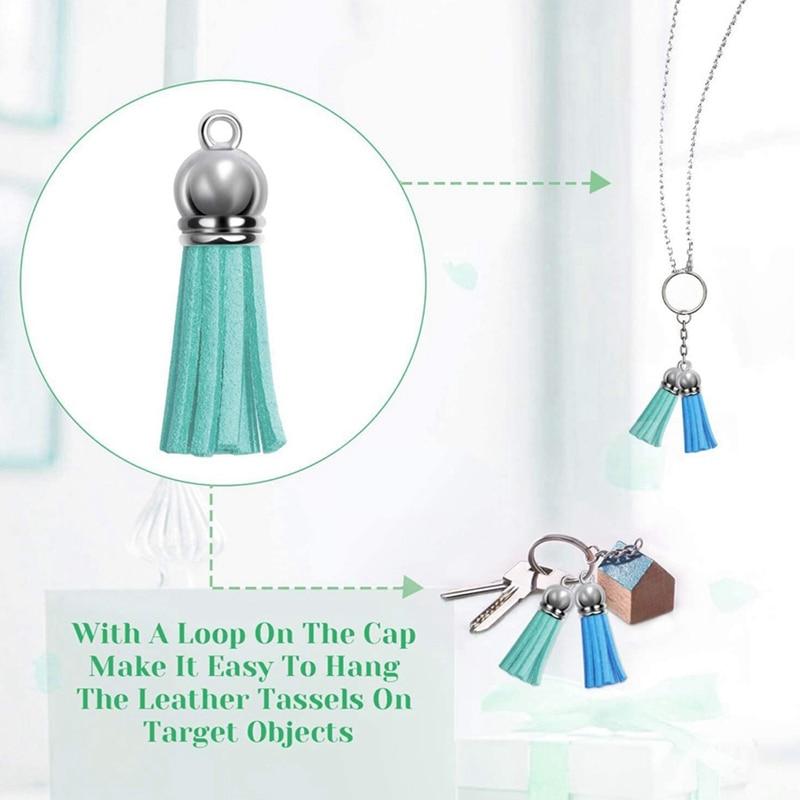 200 Pieces Tassels Leather Tassel Pendants Rings Bulk Acrylic Blanks 40 Colors