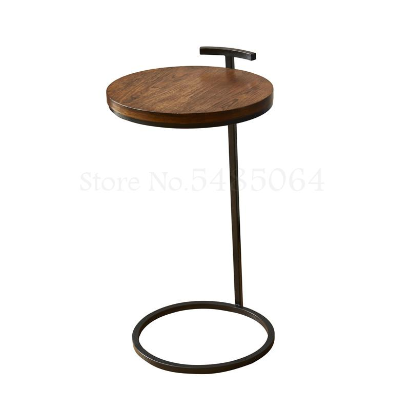 Nordic Style Round Side Table Wooden Iron Sofa Corner Table Simple Modern Bedroom Living Room Small Coffee Table Leisure