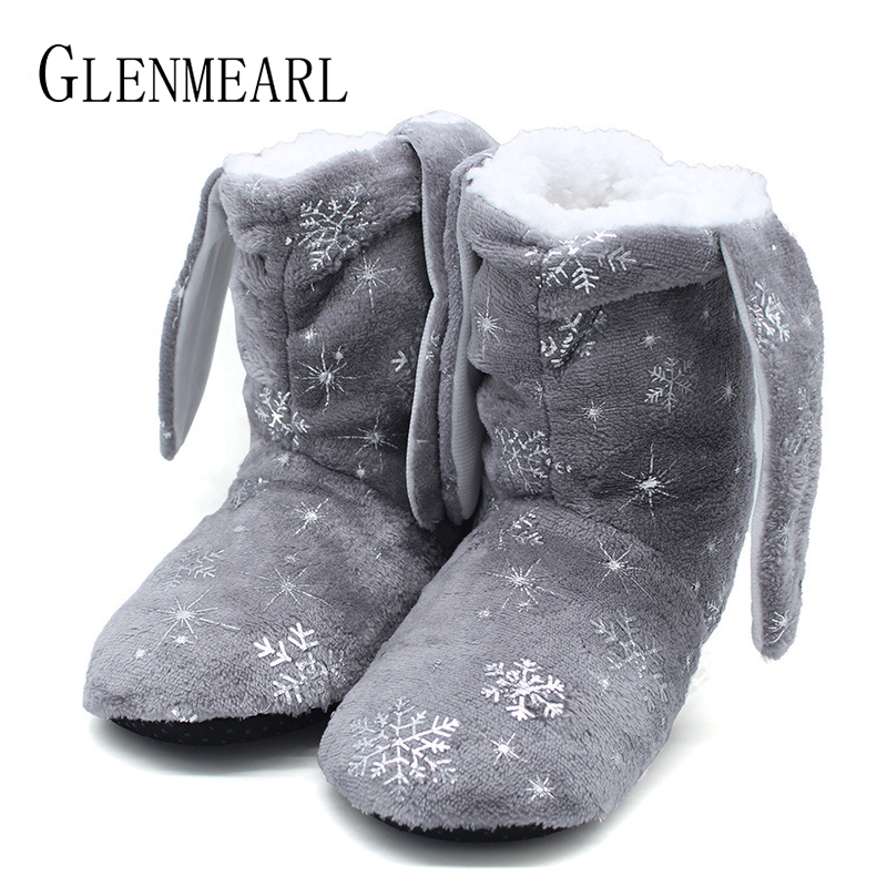 Animal Shape Boots for Women Winter Warm Soft Floor Slippers Flannel Indoor Home Shoes Blue