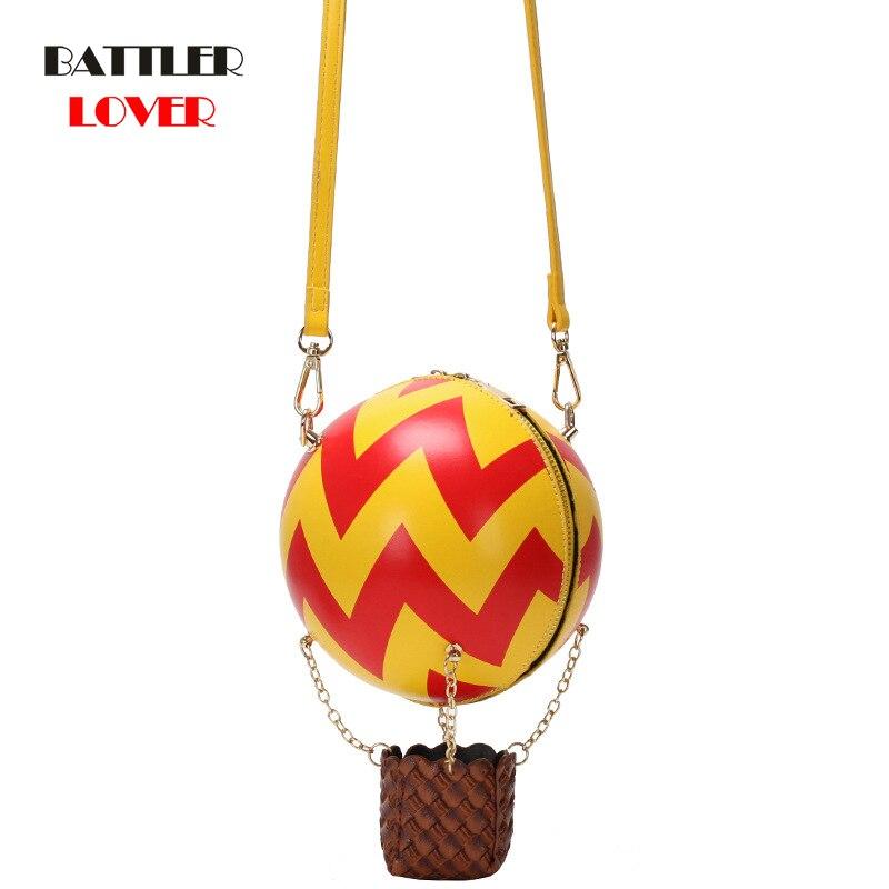2020 Cute Hot Air Balloon Design Color Striped Fashion Women Shoulder Bag Tote Crossbody Bag Ladies Purses and Handbags Tote Bag