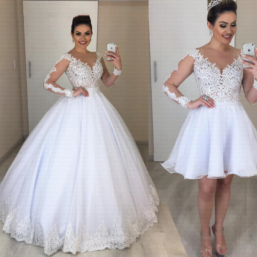 Cheap Detachable Skirt Vestido De Noiva With Long Sleeve 2 in 1 Wedding Dress 2021 Pearls Bride Dress Robe De Mariee