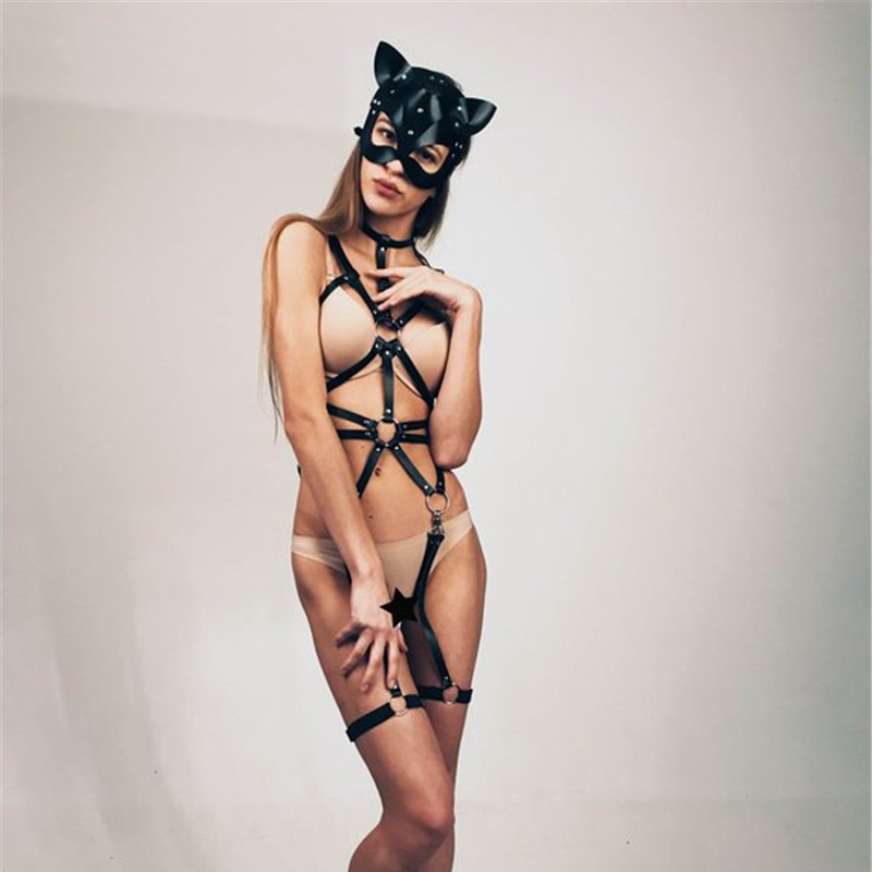 Fetish Leather Babydolls Erotic Lingerie Gothic Body Bondage Cage Bra Harness Garter Belt Suspenders Exotic Appeal for BDSM Sex