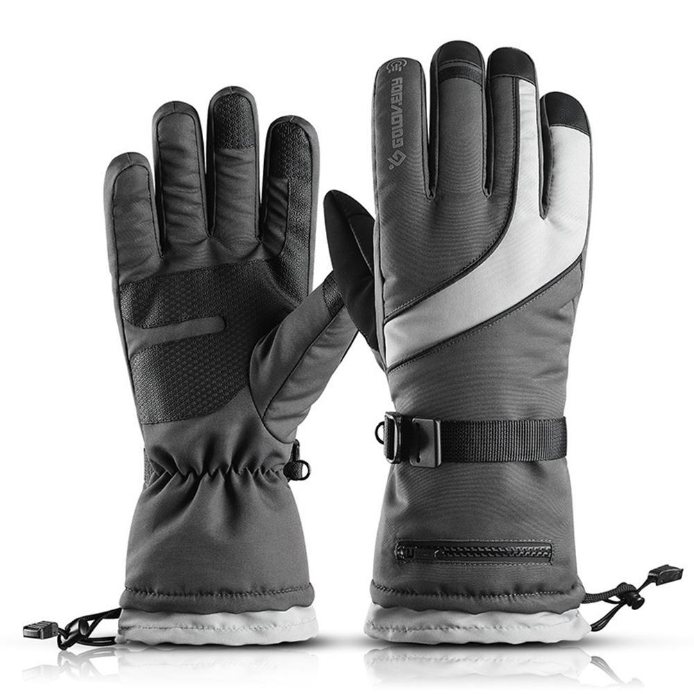 Зимние лыжные перчатки для мужчин и женщин, для взрослых, водонепроницаемые, на флисовой подкладке, теплые профессиональные перчатки с сенсорным экраном, для катания на лыжах, на открытом воздухе, для пеших прогулок, велоспорта