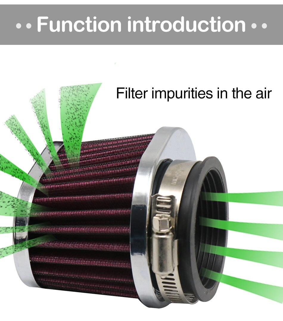 Filtro de aire moto filtro de entrada de aire de 38 mm filtro de aire de inducci/ón de alto flujo con abrazadera