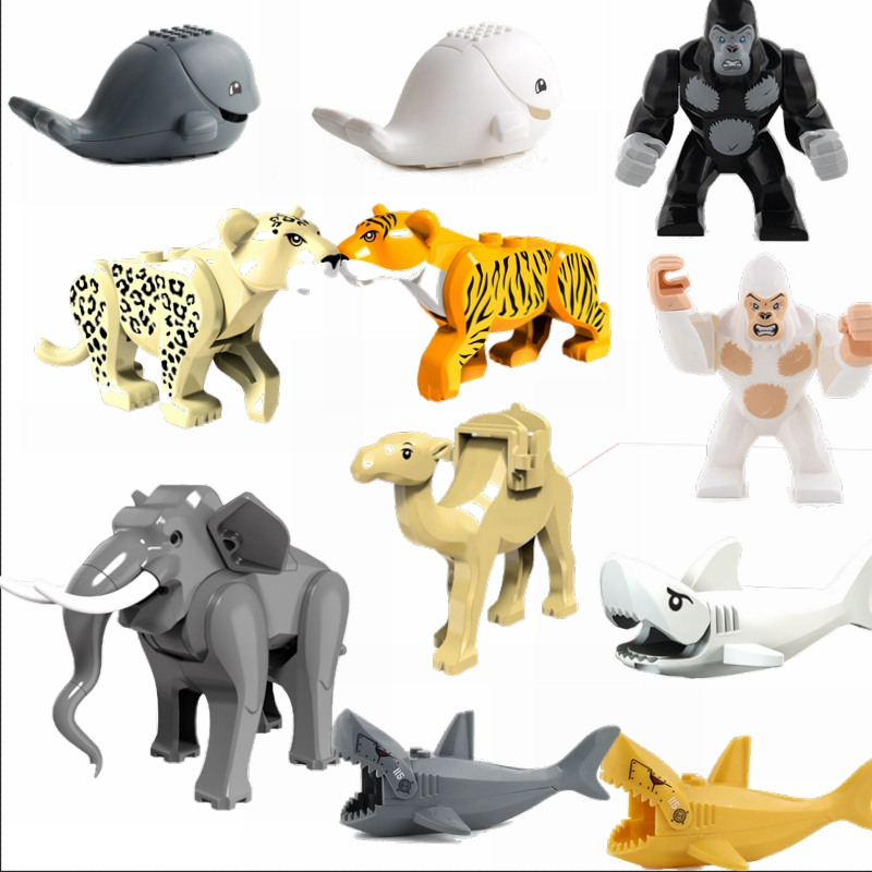 Legoing Blocks Animals Little Bear Shark Wolf Kids Toys Gifts Jungle Super Heroes Animal Whale Figures Orangutan Legoing Marvel