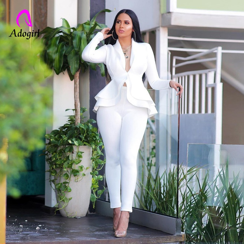 White Blazer 2 Piece Set Women Winter Work Wear Full Sleeve Ruffles Blazers Pencil Pants Suit Two Piece Set Office Lady Outfits title=