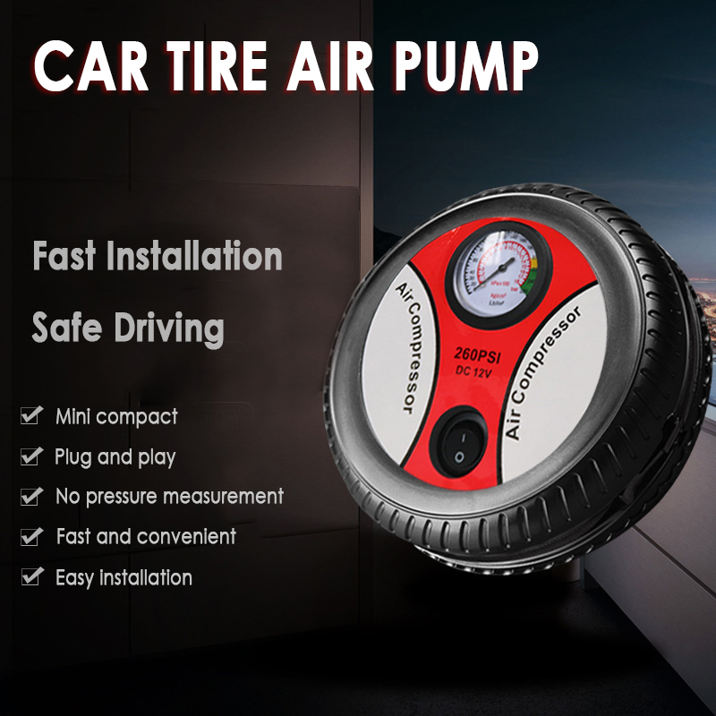 Tire Inflator Compressor Car-Air-Pump Electric Portable 12V 260-Psi Auto-Tools title=