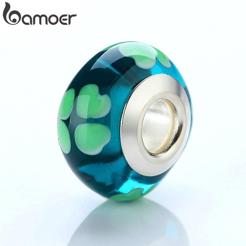 BAMOER оптовая продажа DIY европейский зеленый Сердце Стеклянные Бусины Подходят бусины браслеты и браслеты серебряного цвета ювелирных изделий PA6346