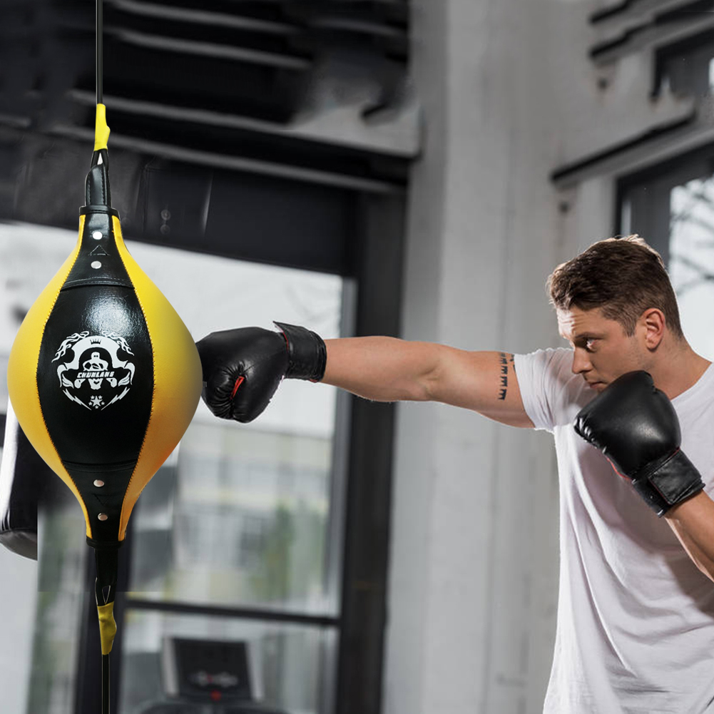 WLKK Speed Ball,Practical Speed Equipment Double End Boxing Speed Ball Punch Bag PU Leather Gym Punching Bag Training Fitness Sports