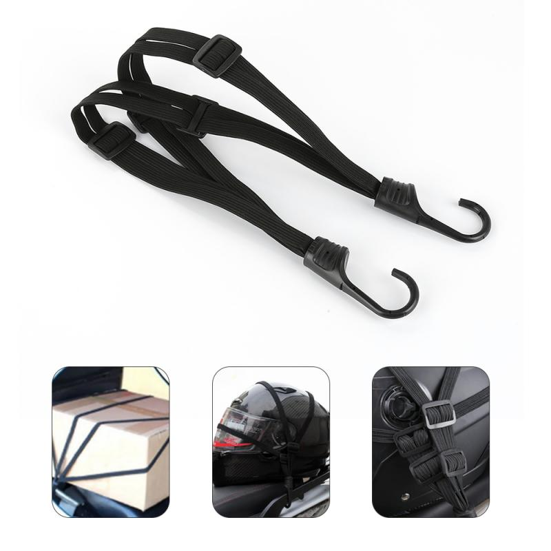 Helmet-Luggage Rope-Strap Moto Elastic 2-Hooks Strength Retractable title=