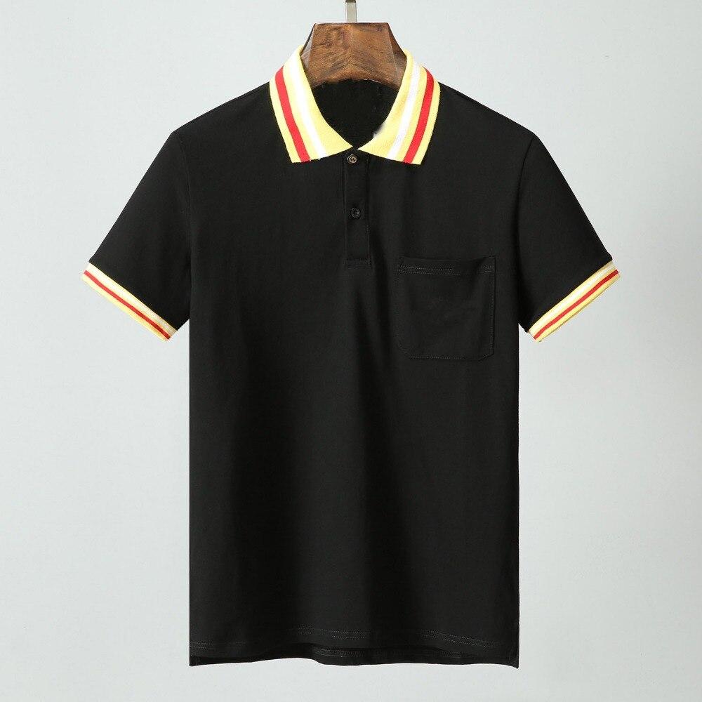 High New Novelty 19ss Men Embroidered stripes Pocket Fashion Polo Shirts Shirt Hip Hop Skateboard Cotton Polos Top Tee #J2