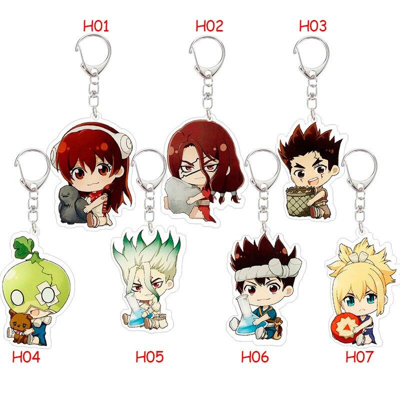 Dr.STONE Asagiri Gen Anime Key Chain Pendant Key Rings Chrome