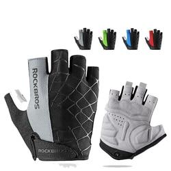 ROCKBROS, велосипедные перчатки с полупальцами, противоударные, износостойкие, дышащие, MTB, дорожные, велосипедные перчатки для мужчин, женщин, м...