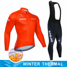 2020 STRAVA Cycling Jersey Set Men Pro Team Clothing Long Sleeve Jacket Suit MTB Race Uniform Winter Thermal Fleece Uniform