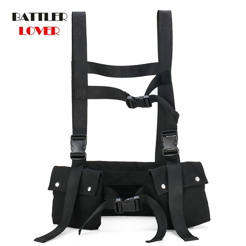 Tactical Vest 2020 Fashion Streetwear Bags for Men Hip Hop Chest Rig Bag Women Vest Adjustable Multiple Pockets Canvas Flap Soft