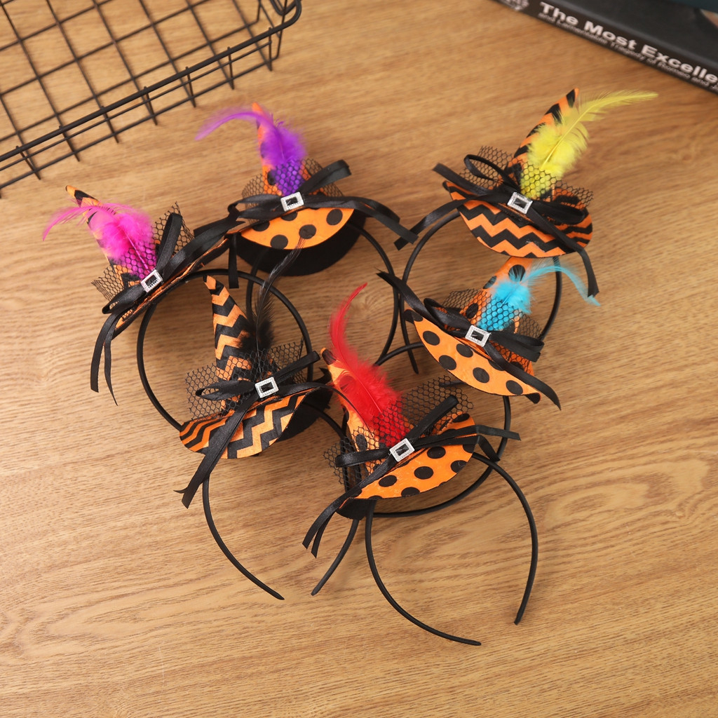 Halloween Pumpkin Sorceress Headwear Witch Headband Fancy Dress Cap Party Cosplay Lace Veil Topper Party Hair Ornaments Kids 830