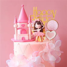 Cake Topper Castle Party-Supplies Happy-Birthday Princess Ballet-Girl Pink Baby's Love Gifts