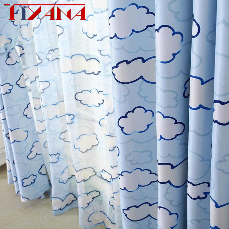 Cloud Children Cloth Curtains For Kids Boy Girl Bedroom Living Room Blue/Pink Blackout Cortinas Custom Made Drapes AG084&30