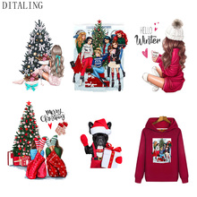 Christmas Thermotransfer For Clothes Girl DIY Patches Appliques On Hoodies Iron-On Transfer