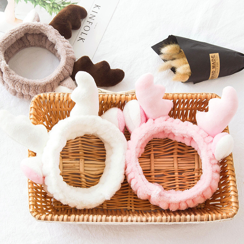 Solid Antlers Ears Headband Comfortable Rabbit Ear Spa Bath Shower Make Up Wash Face Cosmetic Hairband Hair Bands 1111