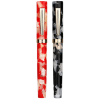 KICUTE Mini 2 Pattern 0.38 / 0.5mm Nib Fountain Pen Business Short Resin AcrylicGentleman Pen for Christmas Gift with Gift Box
