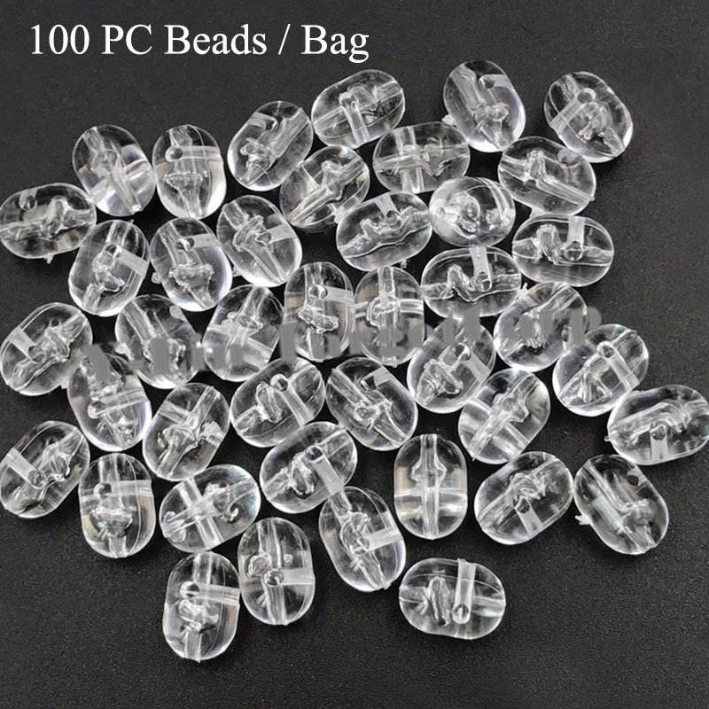 Fishing Cross-Beads Transparent Plastic 100pcs Clear Double-Pearl-Drill title=
