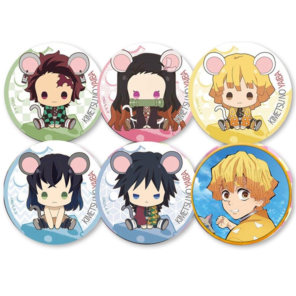 6pcs Demon Slayer: Kimetsu no Yaiba Kamado Tanjirou Pin Button Brooch Badge Trendy Anime Badge