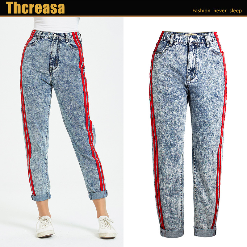 New cowboy pants snow blue qiu dong loose stitching ribbon of tall waist straight jeans are female