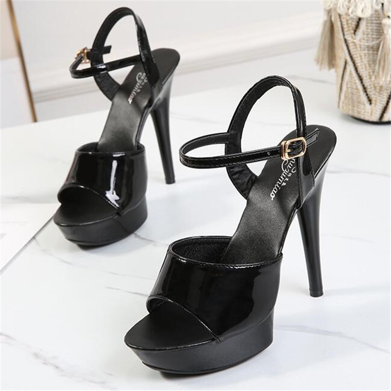 Summer Walking Show Artifact Model high-heeled Shoes Sandals Thin-heeled 13/15 cm Sexy Black Platform Hate Sky high-heeled Shoes