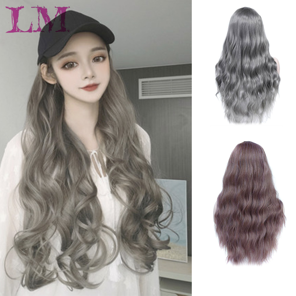 LM FashionHeat Resistant Long Wavy Wigs with Bangs Blonde Pink Green Synthetic Wigs for Women Overwatch Cosplay