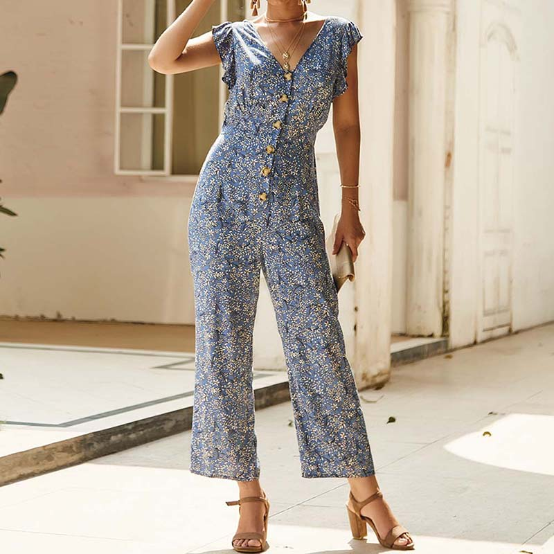 Women Floral Print Wide Leg Rompers Sleeveless Female Ruffle Jumpsuit S-XL