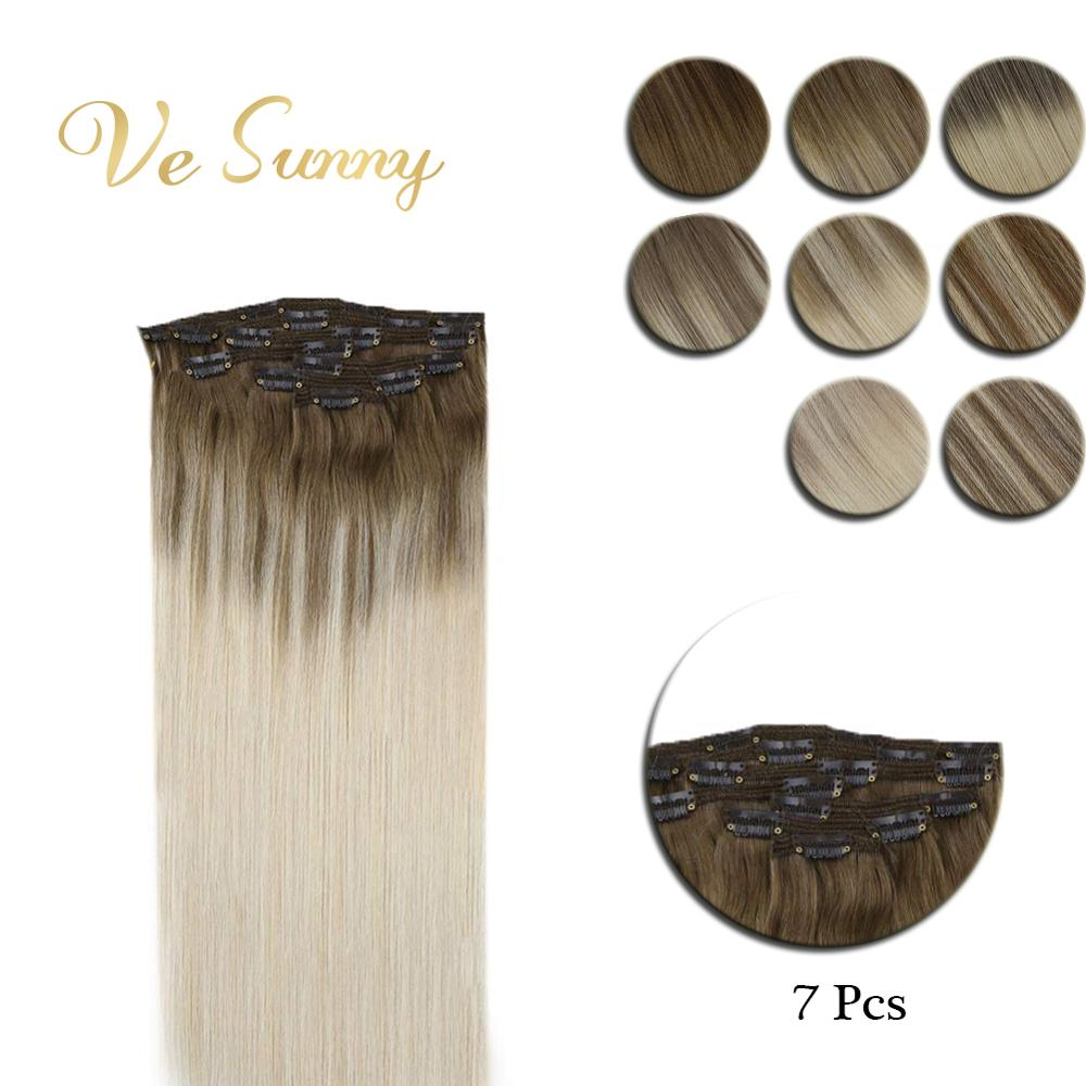 VeSunny Clip in Hair Extensions Real Human Hair 7pcs Double Weft Clip on Hair Balayage Ombre Highlights Light Root Blonde Hair title=
