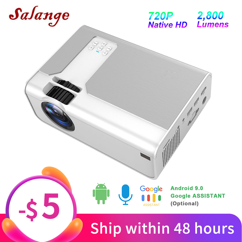 Salange Projector P60, 2800 lumens Home Theater Mini Beamer Support 1080P 3D HDMI Movie Game Projector Optional WiFi Android