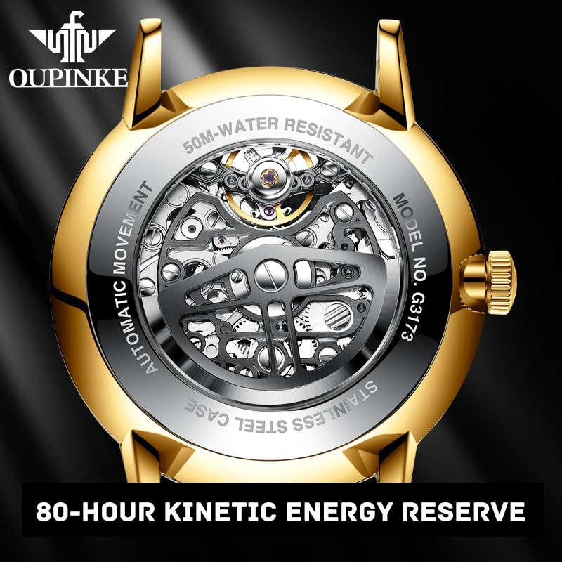 OUPINKE Brand Luxury Men Watches Automatic Skeleton Watch Men Fashion Top Sapphire Waterproof Mechanical Wristwatch reloj hombre