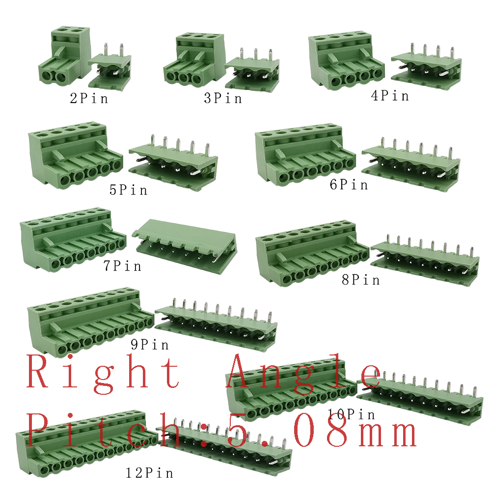 2-12Pin 2EDG5.08 PCB Screw Terminal Block Connector 2EDG 5.08mm Pitch Straight Needle/Right Angle Curved Pin Header Plug Socket