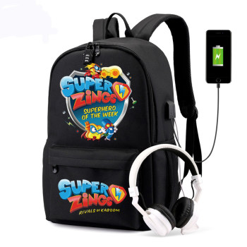 Super Zings Backpacks An-ti Theft Women/Men's USB Charge School Bags Laptop Travel Bags Teenage Notebook Canvas Mochila