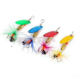 4 Pcs/pack high quality Fishing Spoon Lure Treble Feather Hook Spinner Wire Baits With Feather