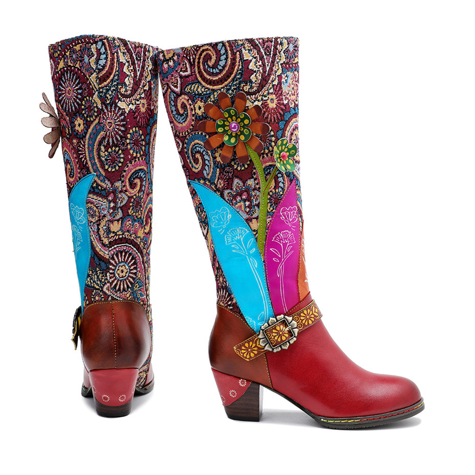 D Knight Luxury Boots Shoes Woman Retro Genuine Leather Casual Women's Knee High Boot Handmade Ethnic Female Western Cowboy Boot (6)