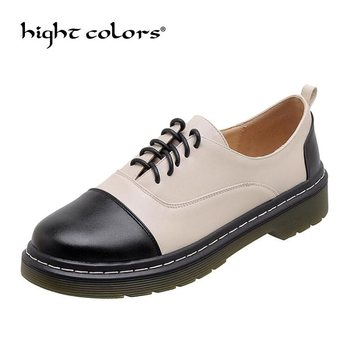 Spring autumn retro platform oxfords shoes woman large size women's British small leather shoes thick heel Lace Up brogue shoes