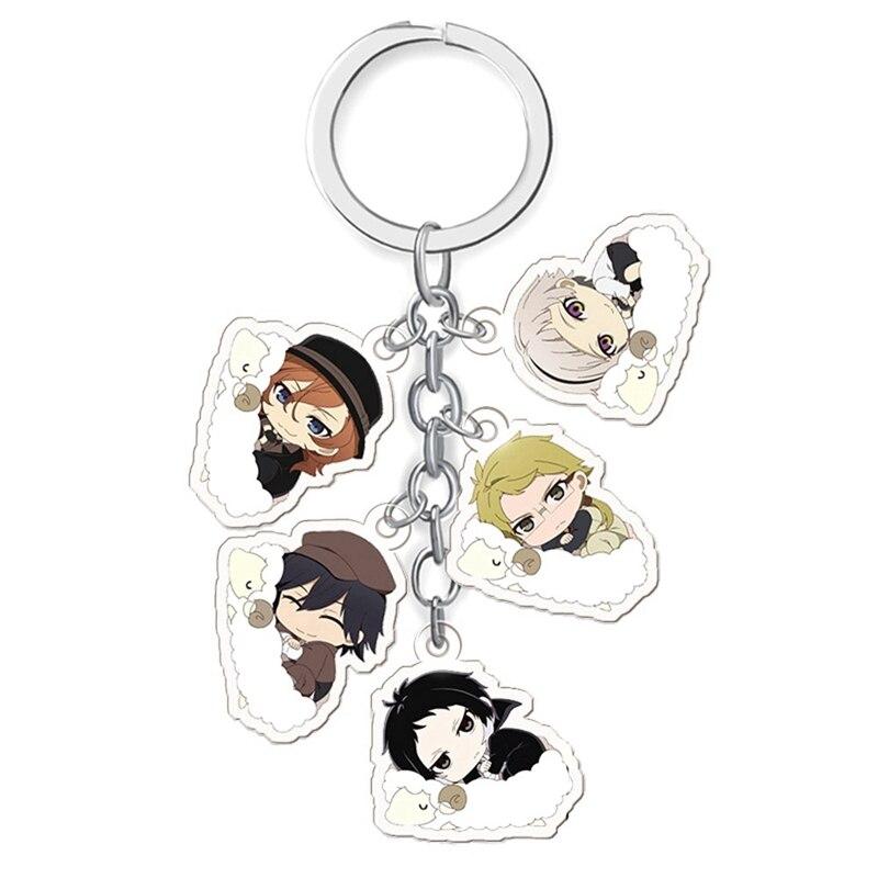 Anime Key Chain Bungo Stray Dogs Atsushi Dazai Akutagawa Chuya Rabbit Acrylic Keyring Keychain