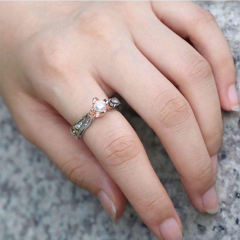 5Pcs New rose flower Color Separation Zircon Rings European and American luxury party flower wedding ring G-58
