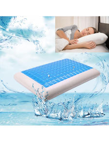 Orthopedic-Cushion Pillow Foam Cooling Travel Blue Neck-Fatigue White for Relief Bed-Gel