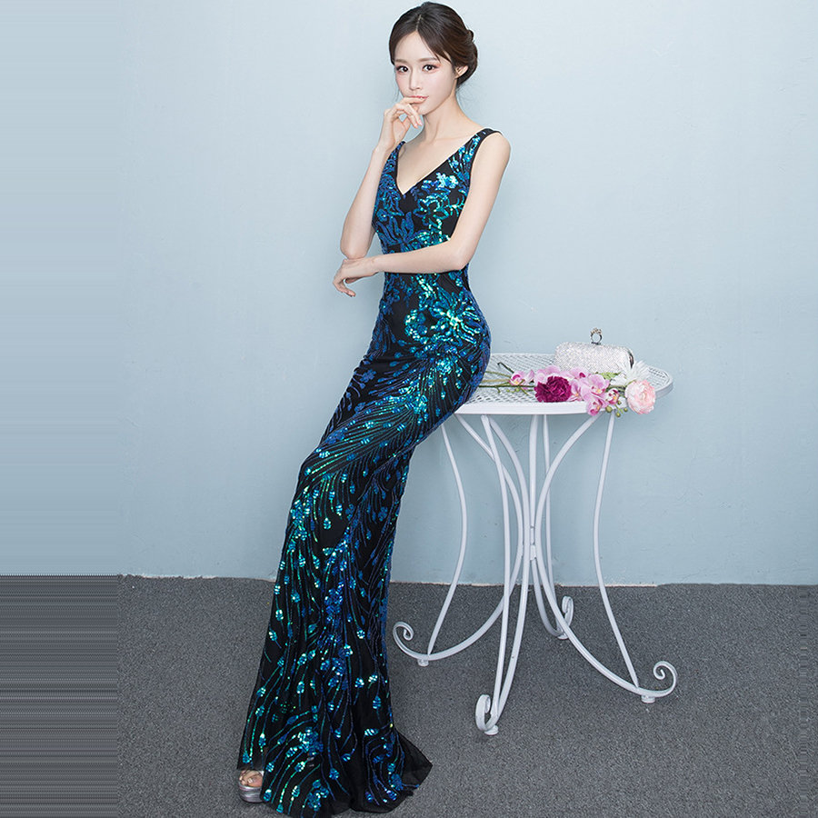 Elegant Evening Dress Long Plus Size Robe De Soiree Sexy V-neck Women Party Dress DX238-5 2019 Sequins Sleeveless Mermaid Dress