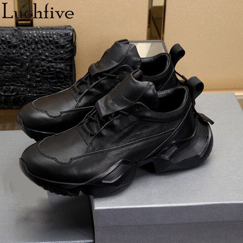 Lace Up Men Shoes Round Toe Wedges Sneakers Runway Black White Male Casual Shoes
