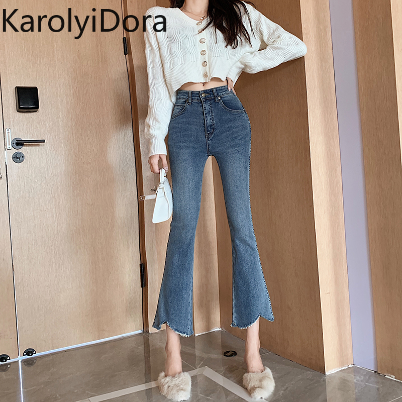 Retro jeans women 2020 spring new fashion temperament high waist jeans Korean version of the wild wild thin flared pants
