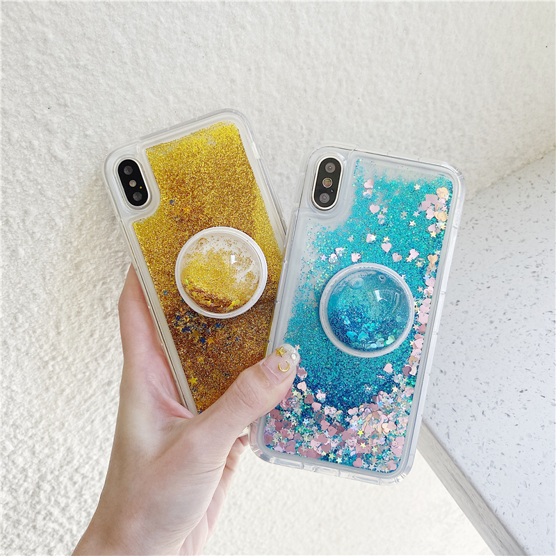 Sequins Glitter Phone Holder Case For Xiaomi Redmi 3S 4 4A 4X 5A 7A 6 Note 7 K20 Pro Mi 6 5X 6X 8SE cc9e Cover