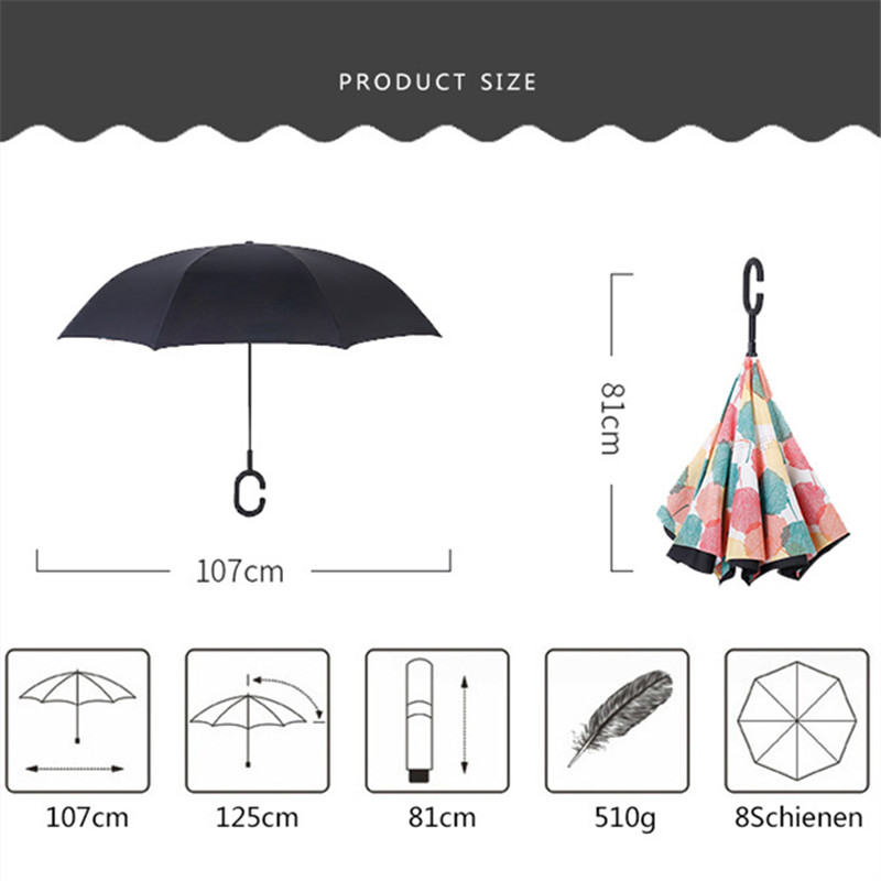 With C-Shaped Handle UV Protection Inverted Folding Umbrellas Sin Crown Car Reverse Umbrella Windproof And Rainproof Double Folding Inverted Umbrella