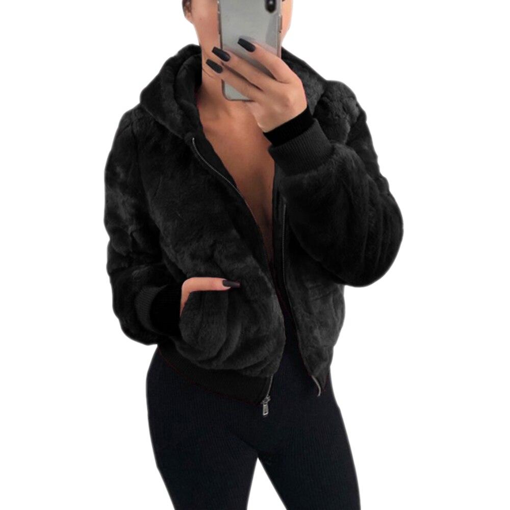 LITTHING 2019 New Winter Faux Fox Fur Outwear Oversized Women Cardigan Zipper Long Sleeve Casual Jacket Female Coat