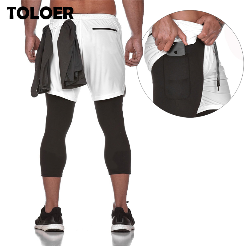 Men Pants Two-Piece Breathable New Quick-Drying Gyms Elastic Ankle-Length Running title=